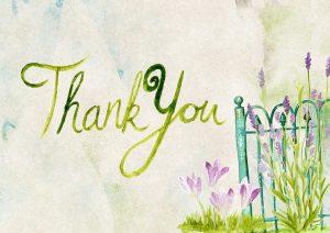 """Dankbarkeit: Aquarell-Bild mit der Aufschrift """"Thank you"""""""