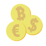Bitcoin, Dollar und Euro Münzen