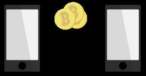 Bitcoin Bezahlung Peer to Peer von einem Smartphone zu anderem